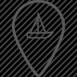 cargo, direction, location, location pin, navigation, pin, ship icon