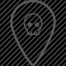 danger, direction, location, location pin, navigation, pin, skull icon