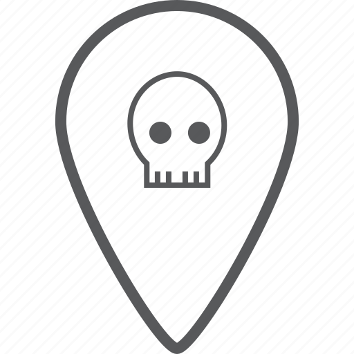 danger, direction, location, location pin, navigation, pin, skull icon