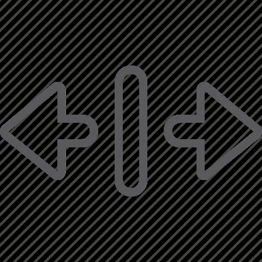 arrow, expand, horizontal icon