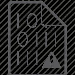 binary, caution, file icon