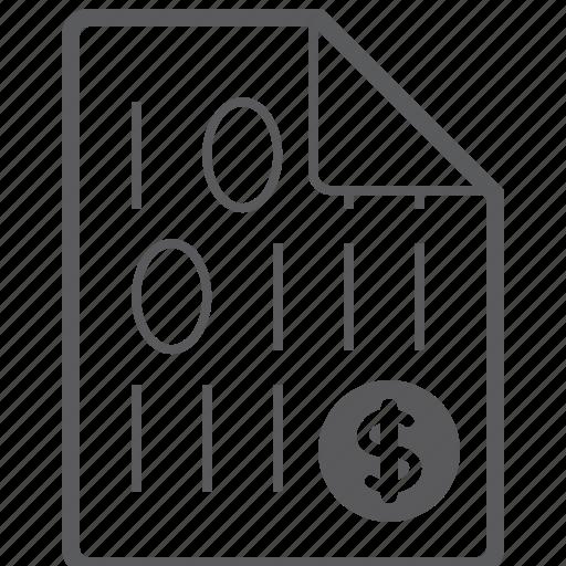 binary, dollar, file icon