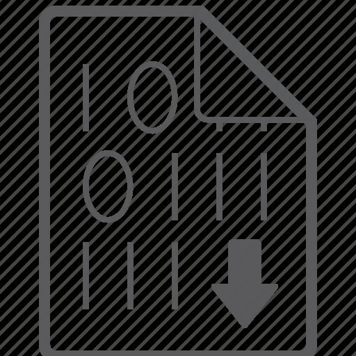 binary, down, file icon