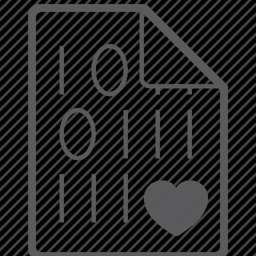 binary, file, heart icon