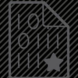 binary, file, star icon