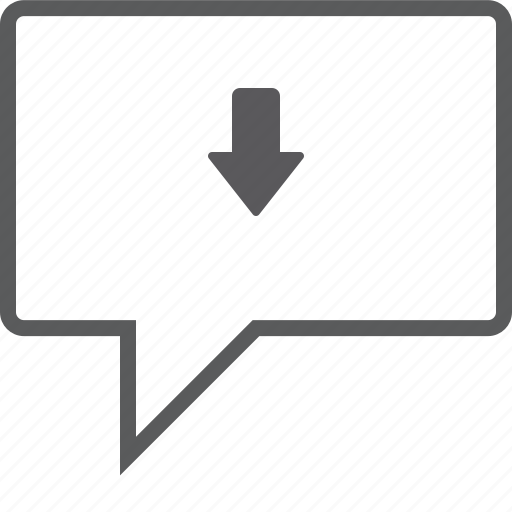 box, chat, down icon