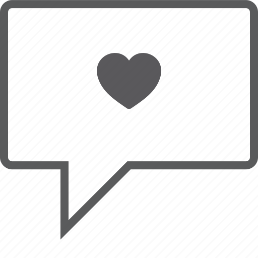 box, chat, heart icon