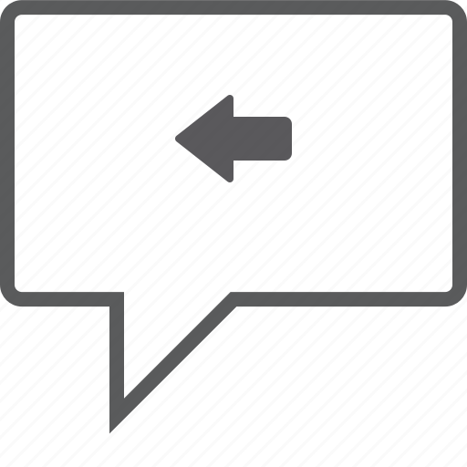 box, chat, left icon