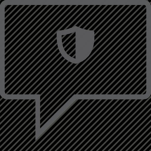 box, chat, shield icon