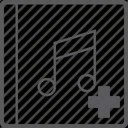 add, cover, music icon
