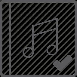 check, cover, music icon
