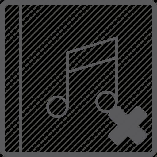 cover, delete, music icon