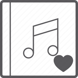 cover, heart, music icon
