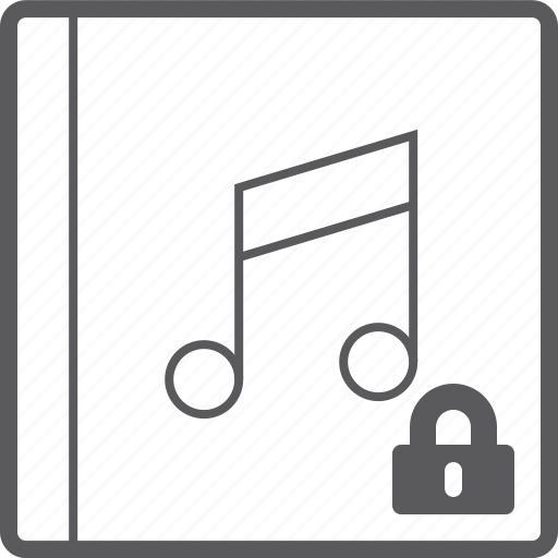 cover, lock, music icon