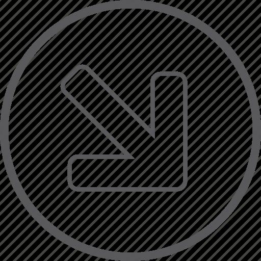 button, circle, down, right icon