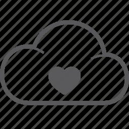 cloud, heart icon