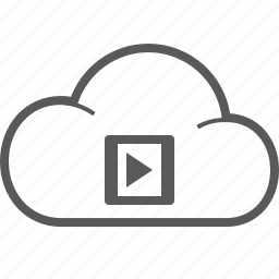 cloud, player, video icon