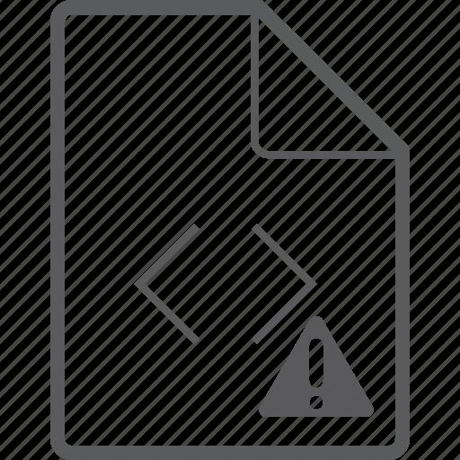 caution, code, file icon