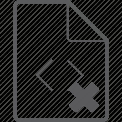 code, delete, file icon