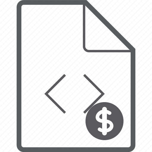 code, dollar, file icon