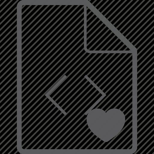 code, file, heart icon