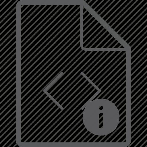 code, file, info icon