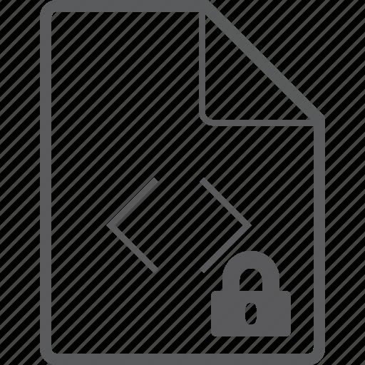 code, file, lock icon