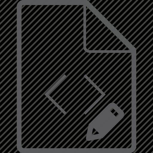 code, file, pencil icon