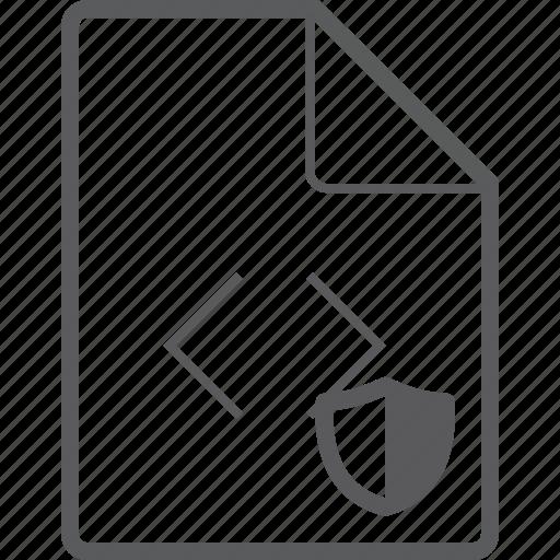 code, file, shield icon