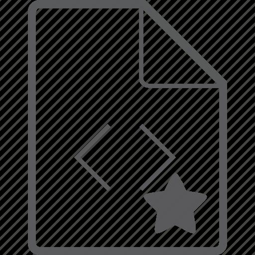 code, file, star icon