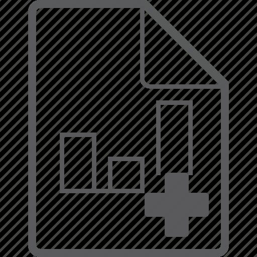 add, chart, column, file icon