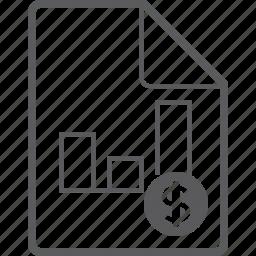 chart, column, dollar, file icon
