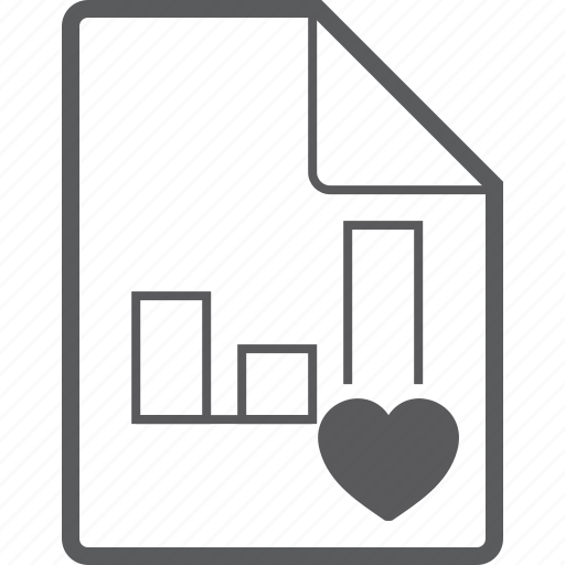 chart, column, file, heart icon