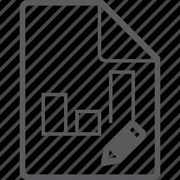 chart, column, file, pencil icon