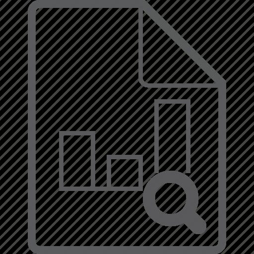 chart, column, file, search icon