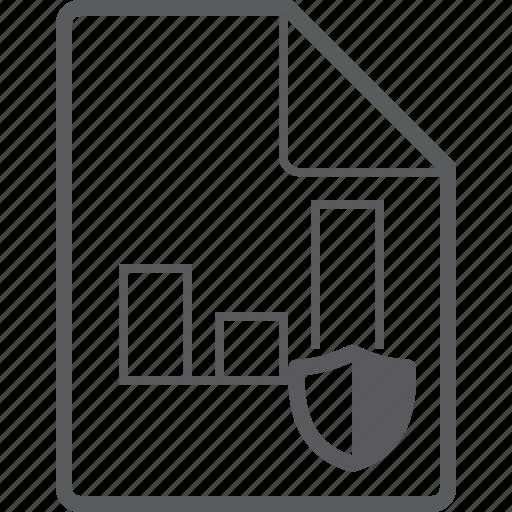 chart, column, file, shield icon