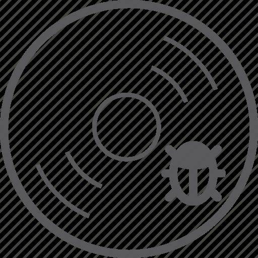 bug, disc icon