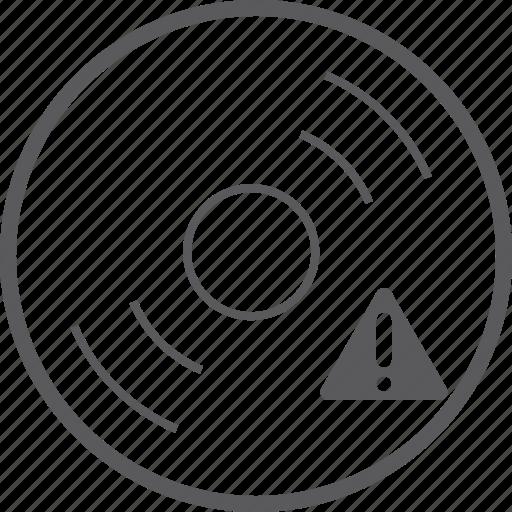 caution, disc icon