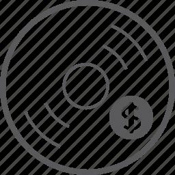 disc, dollar icon