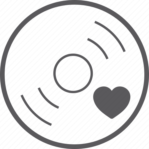disc, heart icon