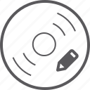 disc, pencil icon