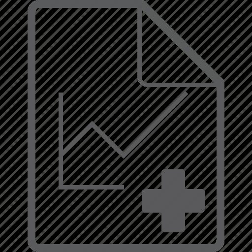 add, chart, file, line icon