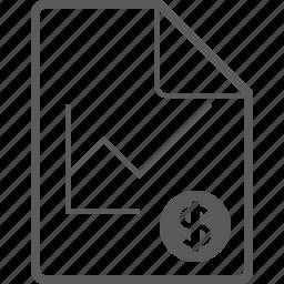 chart, dollar, file, line icon
