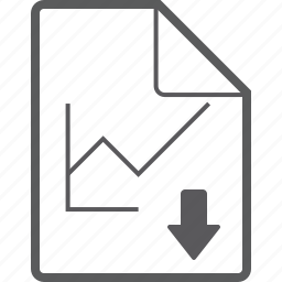 chart, down, file, line icon