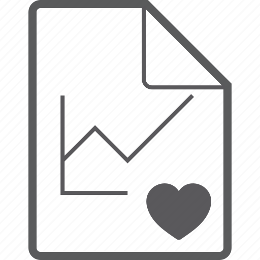 chart, file, heart, line icon
