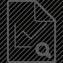 chart, file, line, search icon