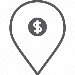 dollar, marker icon