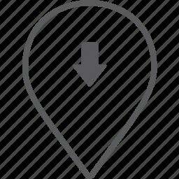 down, marker icon