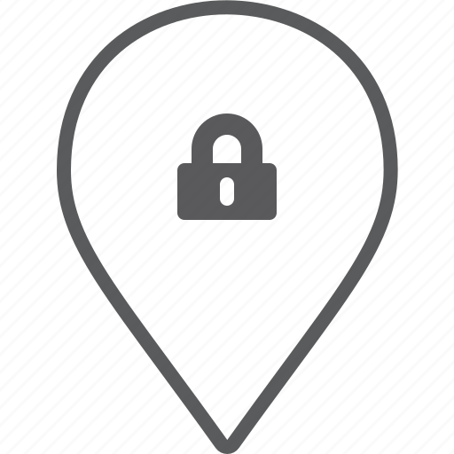 lock, marker icon