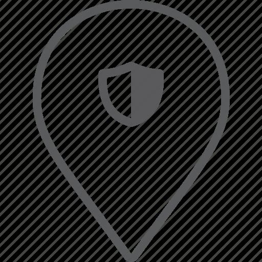 marker, shield icon